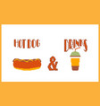 hot dog and drink pixel art style banner vector image vector image