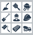 isolated construction icons set vector image