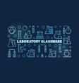 laboratory glassware blue banner in thin vector image vector image
