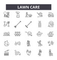 lawn care line icons signs set outline vector image