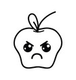 line kawaii cute angry apple fruit vector image vector image