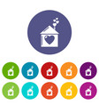 mother house icons set color vector image vector image