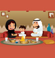 muslim family eating at home vector image