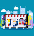 people shoping online concept with happy vector image