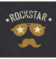 Rockstar Sunglasses with stars and moustache with vector image