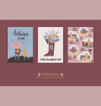 set artistic creative autumn cards hand drawn vector image