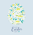 spring flowers and herbs easter greeting card vector image