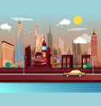 statue liberty and landmarks in new york city vector image vector image