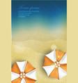 sun sea sand beach with umbrella vector image
