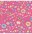 Sweets Colorful Seamless Pattern Hand Drawn vector image