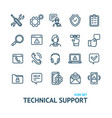 technical support signs black thin line icon set vector image vector image