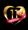 template gold logo 11 years anniversary with vector image vector image