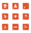 terrible movie icons set grunge style vector image