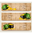 Three Saint Patricks Day banners with lover leaves
