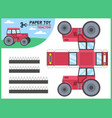 tractor paper cut toy kids handmade educational vector image