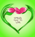 with tulip flowers in shape of heart vector image vector image