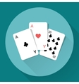 Three Playing Cards Long shadow icon vector image