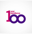 100 year anniversary excellence template design vector image