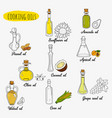 9 isolated doodle cooking oils mixed colored and vector image