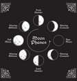 antique style moon phases circle vector image