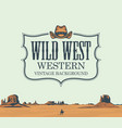 banner with western prairies and cowboy vector image vector image