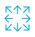 blue simple arrows in 8eight different directions vector image