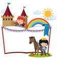 border template with knight and horse vector image vector image