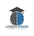 brain and graduation cap icon design vector image