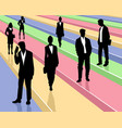 business people on colored background vector image vector image