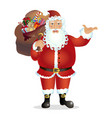 cartoon santa claus present something vector image vector image