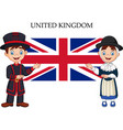 cartoon united kingdom couple wearing traditional vector image vector image