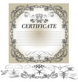 certificate design with calligraphic elements vector image vector image