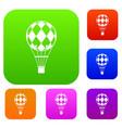checkered air balloon set color collection vector image vector image