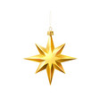 christmas tree golden star realistic toy vector image vector image