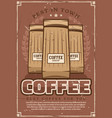 coffeeshop retro poster with ground coffee packs vector image