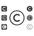 copyright icon shape sign set grunge vector image vector image