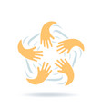 creative logo with hands connection friendship vector image