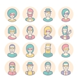 Creative set of round avatars Thin lines vector image vector image