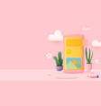 cute 3d smartphone composition mobile vector image