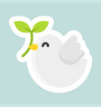 dove with branch icon easter and spring flat vector image vector image