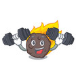 fitness meteorite character cartoon style vector image