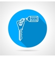Flat round icon for key with tag vector image
