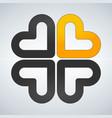 four hearts social symbol heart cross logotype vector image vector image