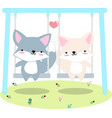 fox anf friend on swing at garden vector image vector image