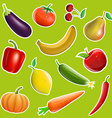 Fruits and vegetables in the form of stickers vector image vector image