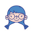 girl head with glasses and hairstyle design vector image vector image