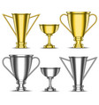 gold and silver trophy cups set sports metal vector image vector image