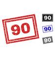 grunge 90 scratched rectangle stamp seals vector image vector image
