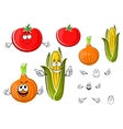 Happy cartoon onion tomato and corn