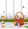 happy easter with eggs and flowers on wood vector image vector image
